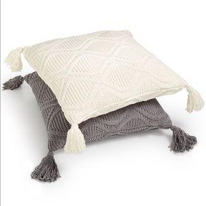 "Martha Stewart Chenille 20"" Knit Square Pillow NEW"